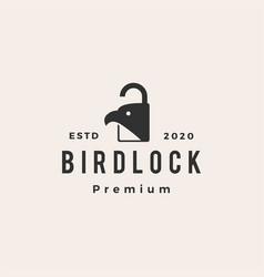 bird lock padlock hipster vintage logo icon vector image