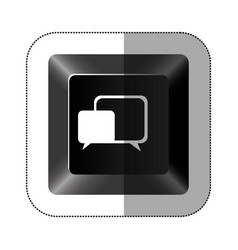 black button square bubble icon vector image
