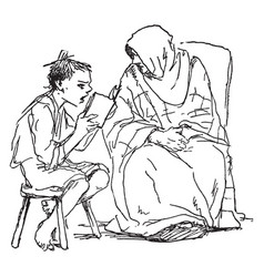 Boy reading to an old woman book stool vintage vector