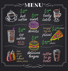 Cafe menu design on chalkboard vector
