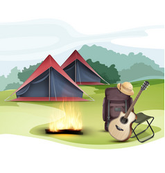 Camping zone with tent vector