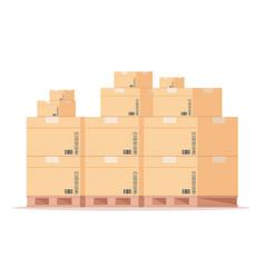 carton box pallet flat warehouse cardboard vector image