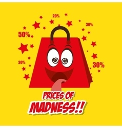 Cartoon bag gift prices madness star yellow vector