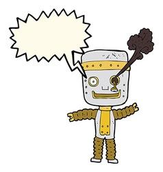 Cartoon funny gold robot with speech bubble vector