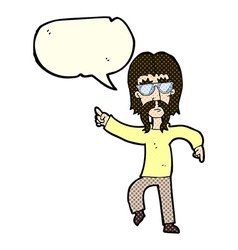 cartoon hippie man wearing glasses with speech vector image