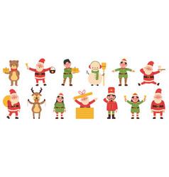 christmas elves snowman and reindeer santa claus vector image