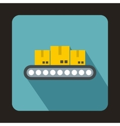 Conveyor belt with boxes icon flat style vector