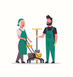 couple janitors man woman in uniform working vector image