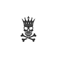 creative black skeleton bones crown king skull vector image
