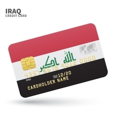 Credit card with Iraq flag background for bank vector