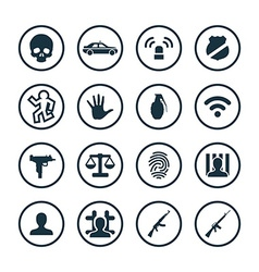 Crime justice icons universal set vector