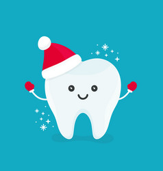 Cute happy smiling funny tooth vector