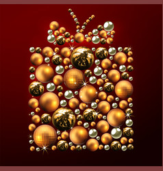 decorative christmas gift made of golden balls vector image