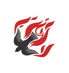 Dove and flame fire are symbols god vector