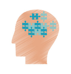Drawing profile head puzzle jigsaw vector