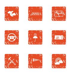 Elaborate icons set grunge style vector