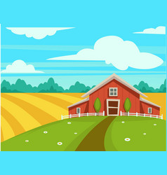 Farm house or farmer household agriculture scenery vector