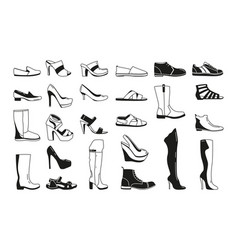 fashion monochrome pictures silhouette shoes vector image