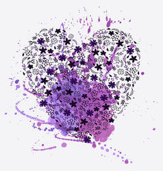 floral heart and watercolor splash vector image