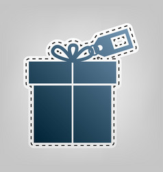 gift sign with tag blue icon with outline vector image