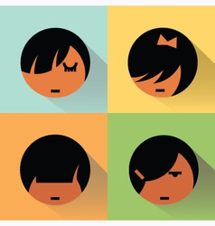 Girls Avatars With Shadows vector image