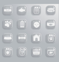 Goods for pets icons vector