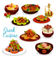 Greek cuisine icon of seafood lunch with dessert vector