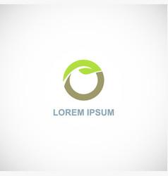 green leaf organic letter o logo vector image