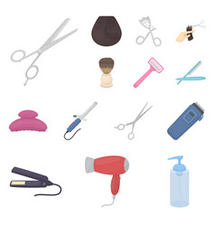 Hairdresser and tools cartoon icons in set vector