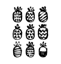 Hand drawn pineapples set vector