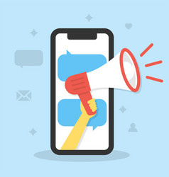 hand holds a megaphone with a smartphone screen vector image