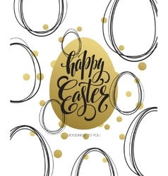 Happy Easter Easter Golden Lettering Egg vector image