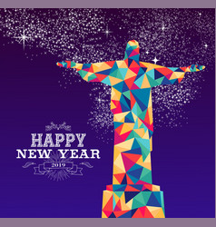happy new year 2019 brazil color triangle hipster vector image