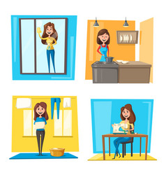 household chores set with woman doing housework vector image