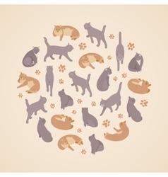 Isometric flat cats set vector image