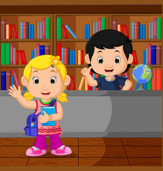 Kids in a library vector