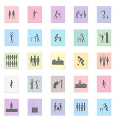 labor people set black icon on color vector image