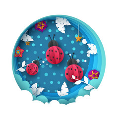 ladybug cartoon paperlandscape leaf vector image