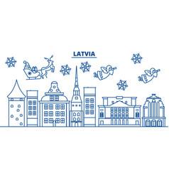 latvia winter city skyline merry christmas happy vector image