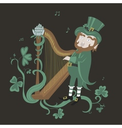 Leprechaun playing the harp and singing vector image vector image