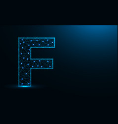letter f low poly design alphabet abstract vector image