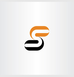letter logo s orange black icon symbol element vector image