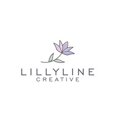 Lilly line art logo design vector