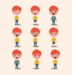 Little boys emoticon set kawaii characters vector