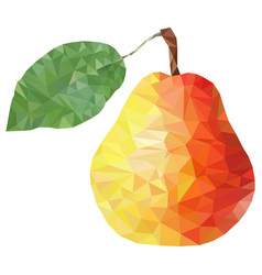 low poly pear on white background low poly vector image