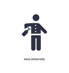 Man spraying deodorant icon on white background vector