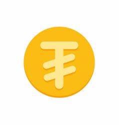 mongolian tugrik currency symbol on gold coin vector image