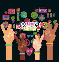Multiracial hands peace and love fre spirit vector