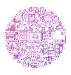 Music line icon circle design vector