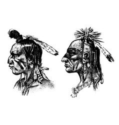 Native american indian man with headdress vector